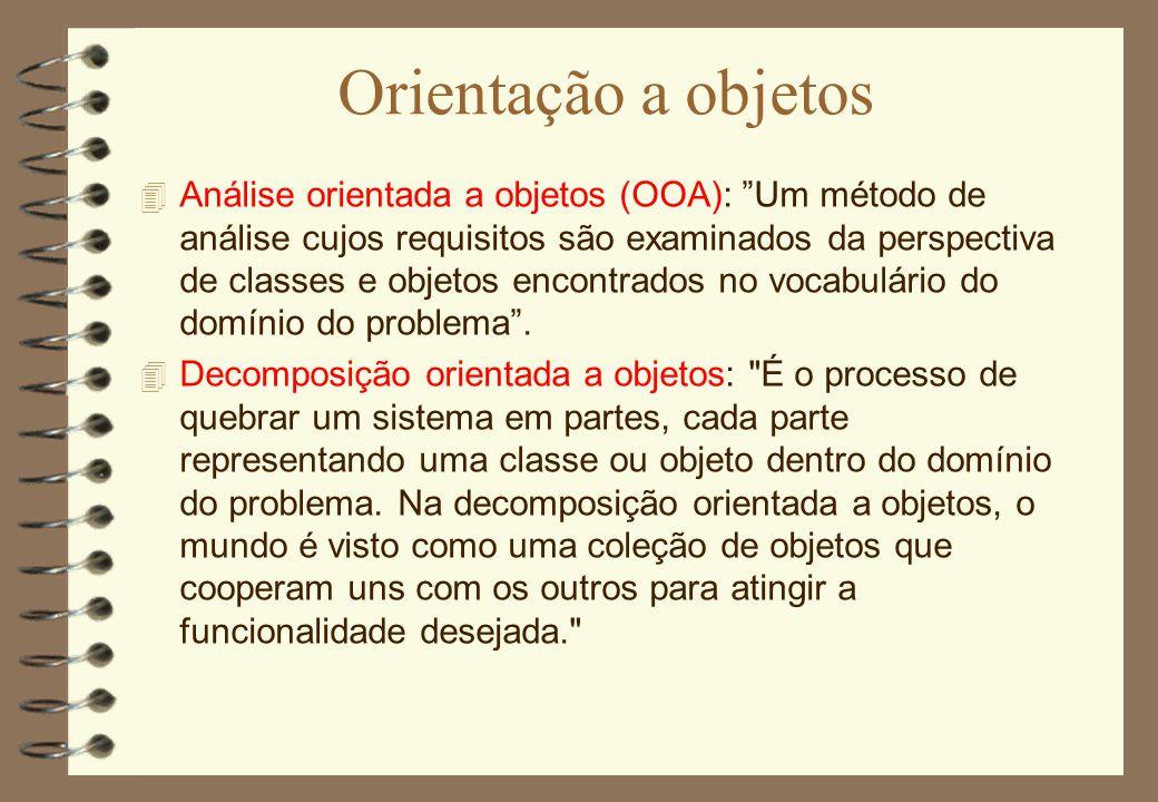 """Orientação a objetos 4 Análise orientada a objetos (OOA): """"Um método de análise cujos requisitos são examinados da perspectiva de classes e objetos en"""