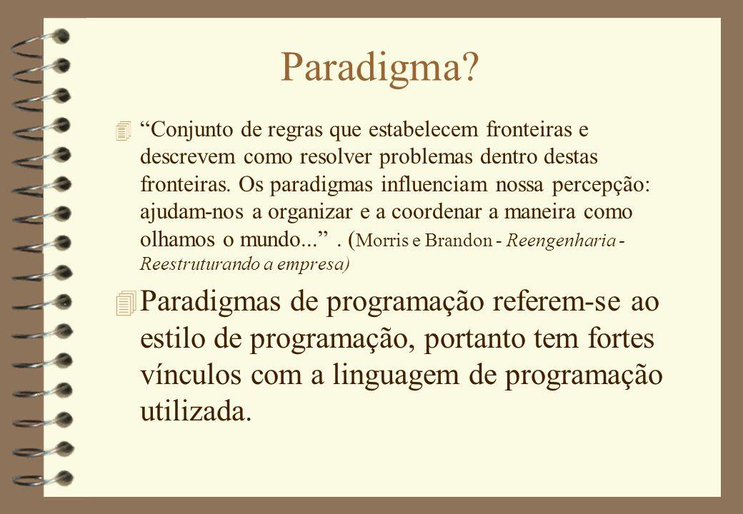 """Paradigma? 4 """"Conjunto de regras que estabelecem fronteiras e descrevem como resolver problemas dentro destas fronteiras. Os paradigmas influenciam no"""