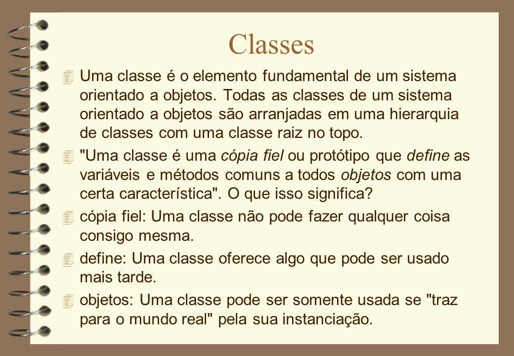 Classes 4 Uma classe é o elemento fundamental de um sistema orientado a objetos. Todas as classes de um sistema orientado a objetos são arranjadas em