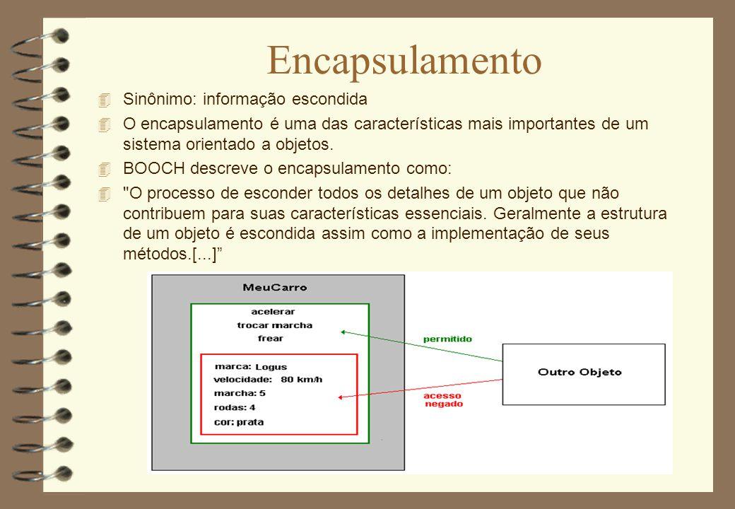 Encapsulamento 4 Sinônimo: informação escondida 4 O encapsulamento é uma das características mais importantes de um sistema orientado a objetos. 4 BOO