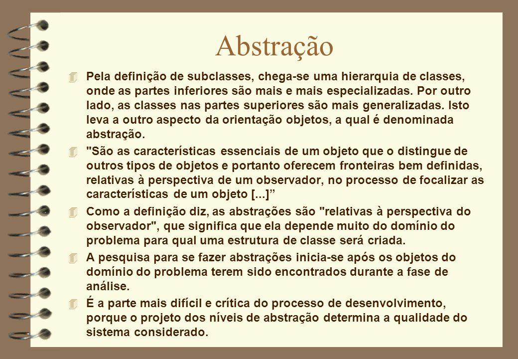 Abstração 4 Pela definição de subclasses, chega-se uma hierarquia de classes, onde as partes inferiores são mais e mais especializadas. Por outro lado