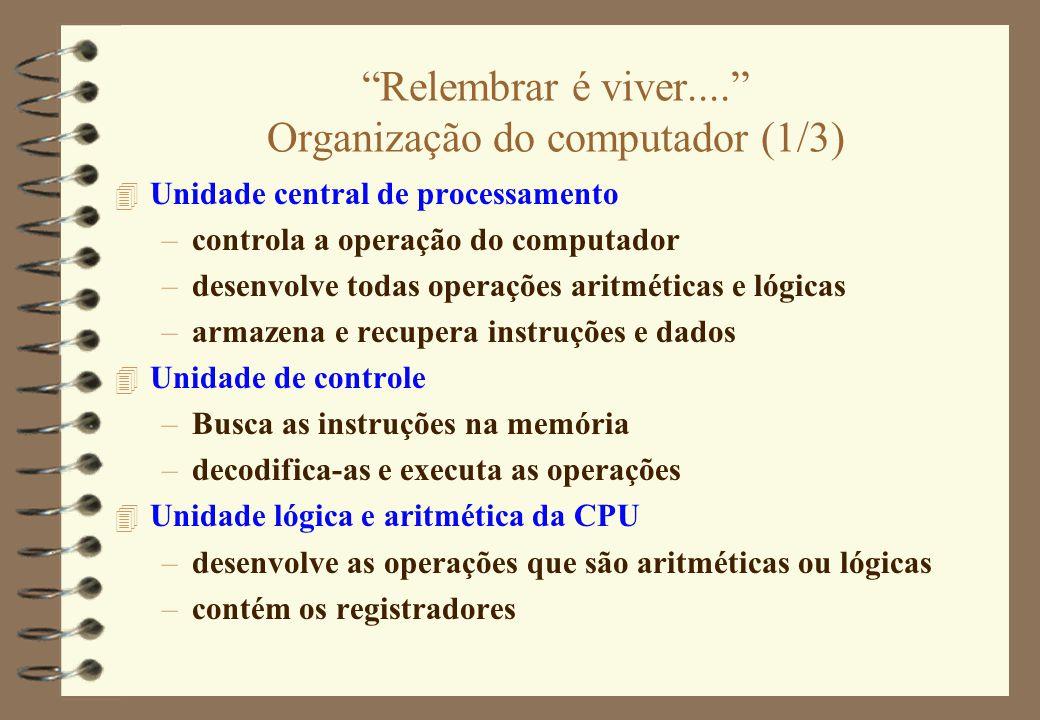 """""""Relembrar é viver...."""" Organização do computador (1/3) 4 Unidade central de processamento –controla a operação do computador –desenvolve todas operaç"""