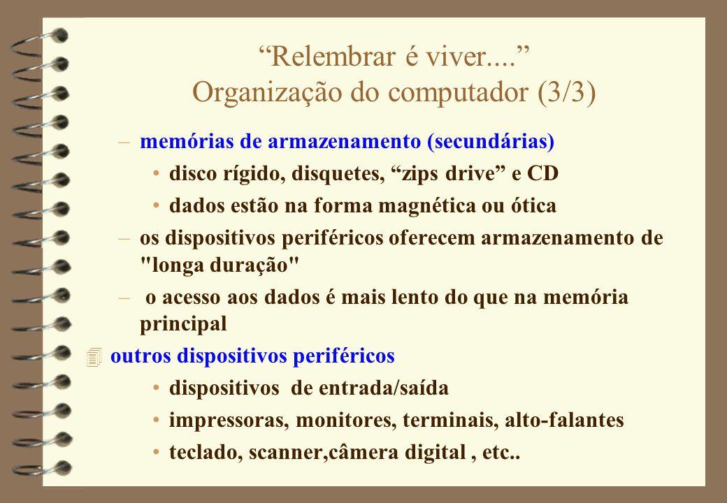 """""""Relembrar é viver...."""" Organização do computador (3/3) –memórias de armazenamento (secundárias) disco rígido, disquetes, """"zips drive"""" e CD dados estã"""