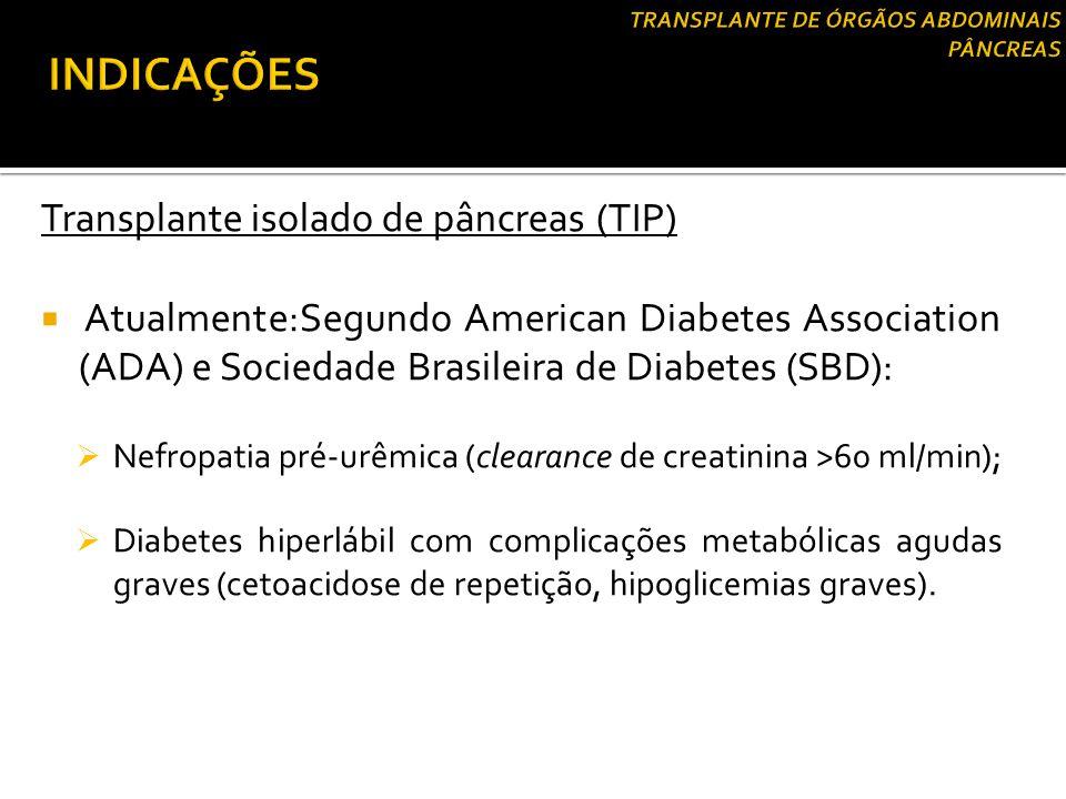 Transplante isolado de pâncreas (TIP)  Atualmente:Segundo American Diabetes Association (ADA) e Sociedade Brasileira de Diabetes (SBD):  Nefropatia