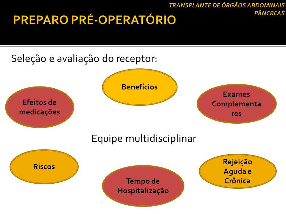 Seleção e avaliação do receptor: Equipe multidisciplinar Efeitos de medicações Benefícios Riscos Tempo de Hospitalização Rejeição Aguda e Crônica Exam