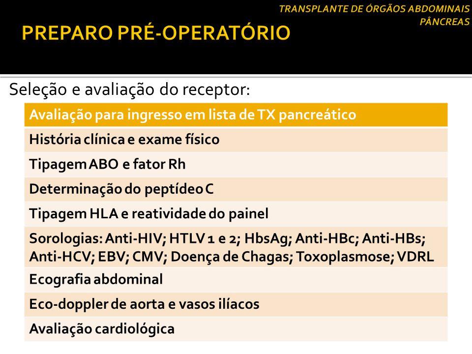 Seleção e avaliação do receptor: Avaliação para ingresso em lista de TX pancreático História clínica e exame físico Tipagem ABO e fator Rh Determinaçã