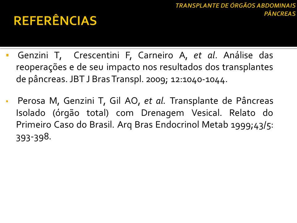 Genzini T, Crescentini F, Carneiro A, et al. Análise das reoperações e de seu impacto nos resultados dos transplantes de pâncreas. JBT J Bras Transp
