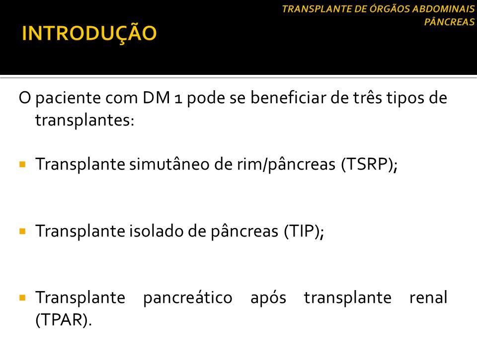 O paciente com DM 1 pode se beneficiar de três tipos de transplantes:  Transplante simutâneo de rim/pâncreas (TSRP);  Transplante isolado de pâncrea