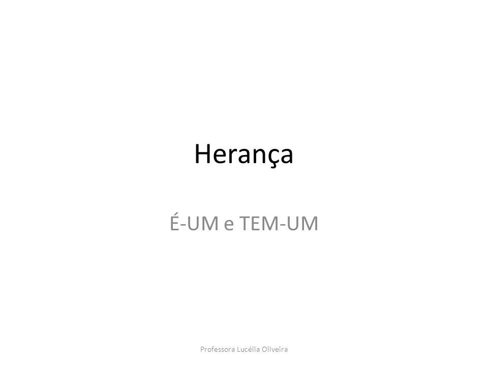 Herança (É-UM) A herança na orientação a objetos, ocorre quando uma classe herda as características (variáveis e métodos) definidas em outra classe, chamada de ancestral ou superclasse.