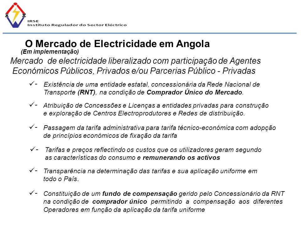 (Em implementação) Mercado de electricidade liberalizado com participação de Agentes Económicos Públicos, Privados e/ou Parcerias Público - Privadas E