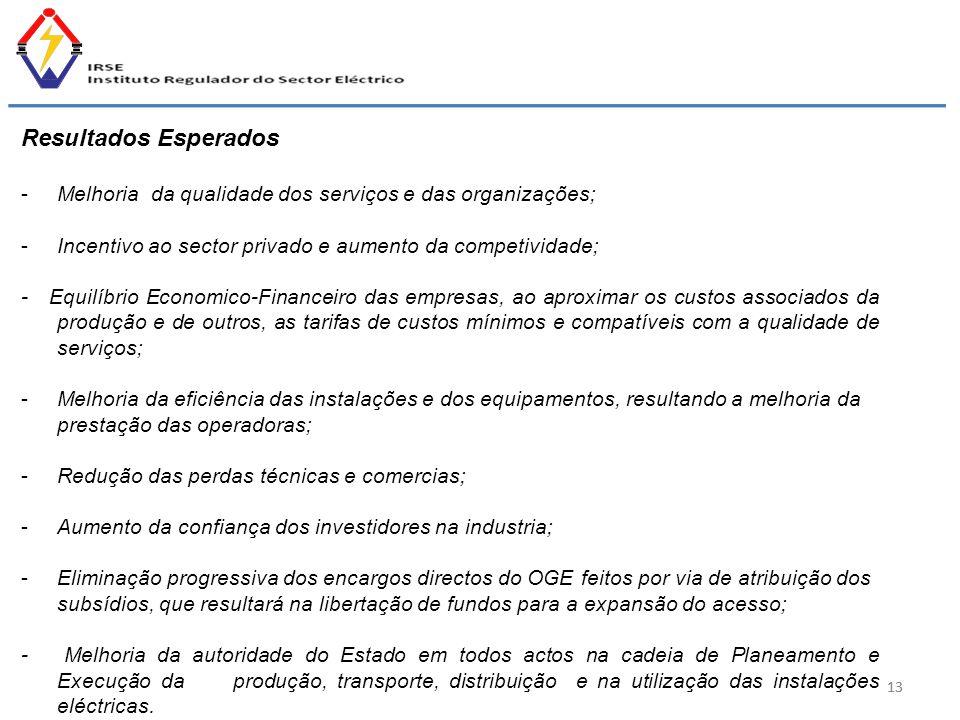 13 Resultados Esperados -Melhoria da qualidade dos serviços e das organizações; -Incentivo ao sector privado e aumento da competividade; - Equilíbrio