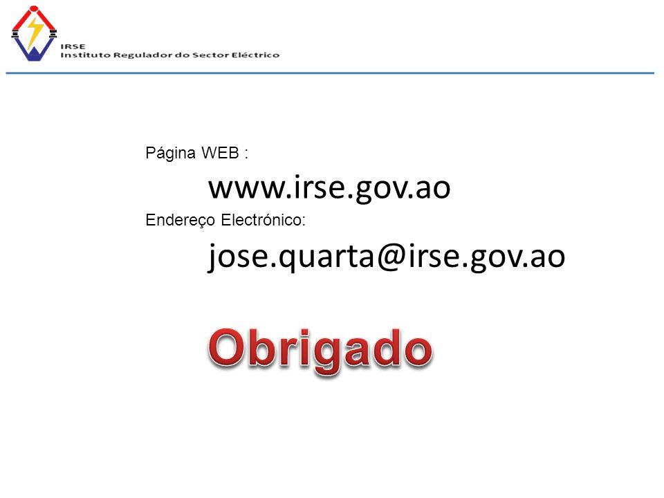 www.irse.gov.ao Página WEB : Endereço Electrónico: jose.quarta@irse.gov.ao