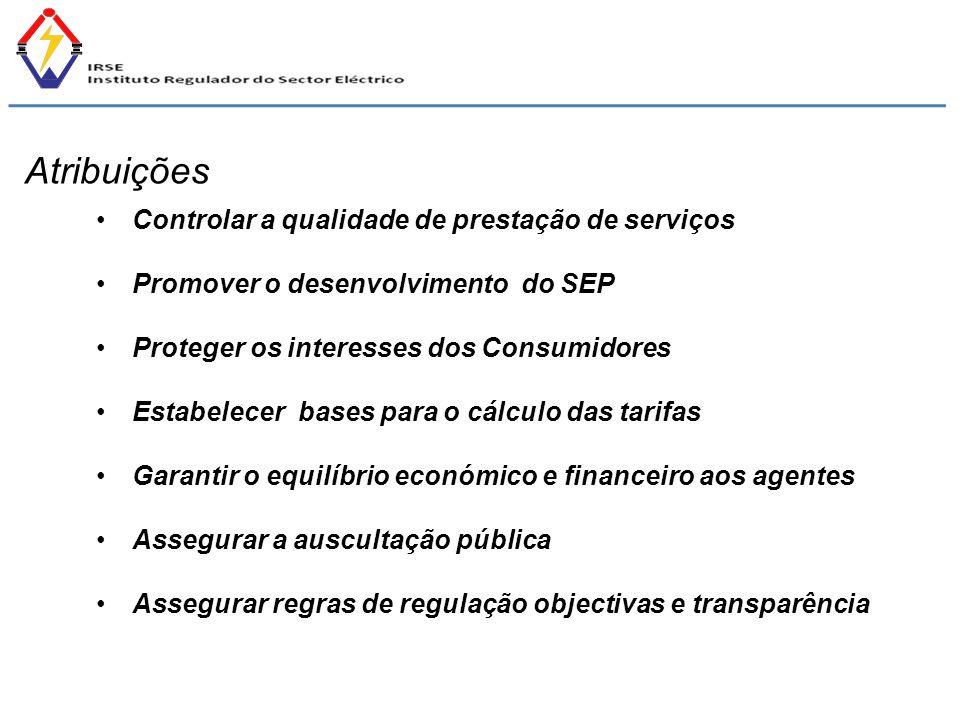 Controlar a qualidade de prestação de serviços Promover o desenvolvimento do SEP Proteger os interesses dos Consumidores Estabelecer bases para o cálc