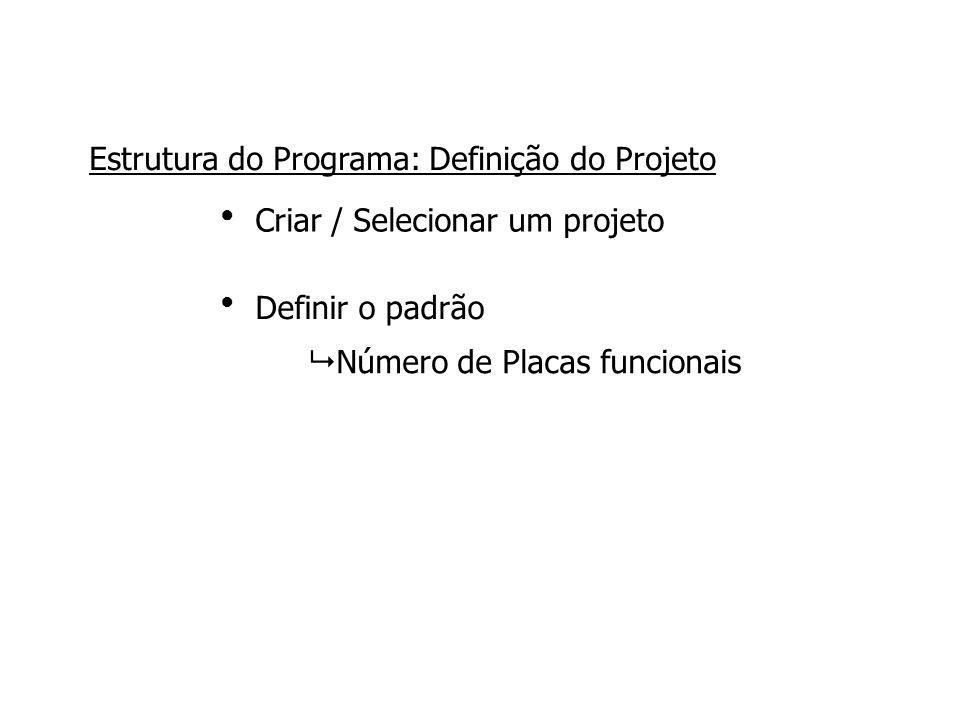 Criar / Selecionar um projeto Definir o padrão ●●●● Estrutura do Programa: Definição do Projeto  Número de Placas funcionais