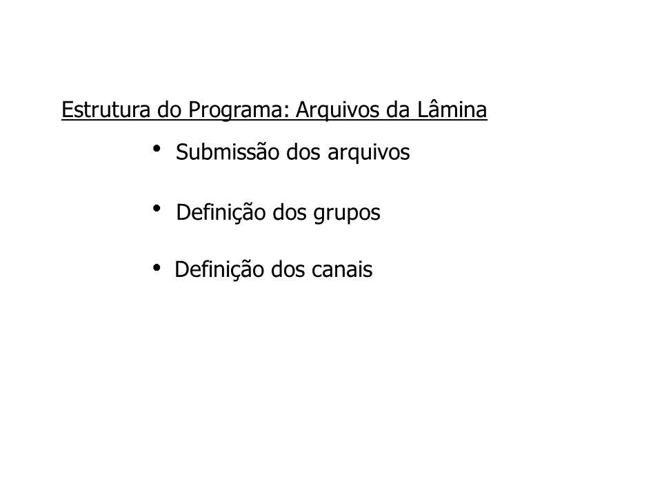 Submissão dos arquivos Definição dos grupos ●●●●●● Estrutura do Programa: Arquivos da Lâmina Definição dos canais