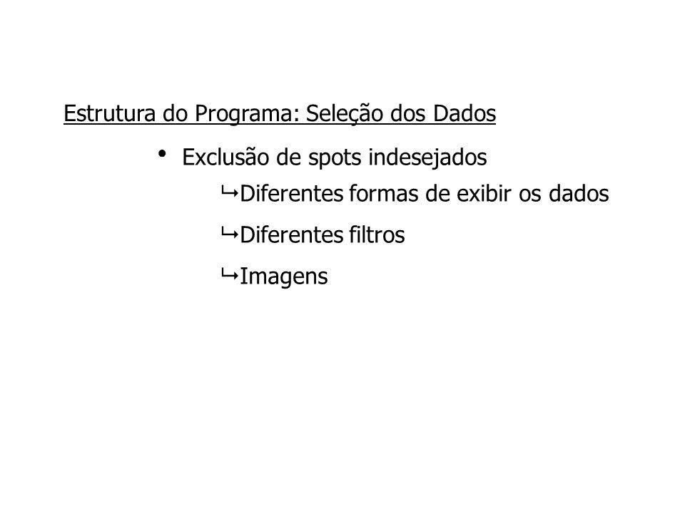 Exclusão de spots indesejados ● Estrutura do Programa: Seleção dos Dados  Diferentes formas de exibir os dados  Diferentes filtros  Imagens