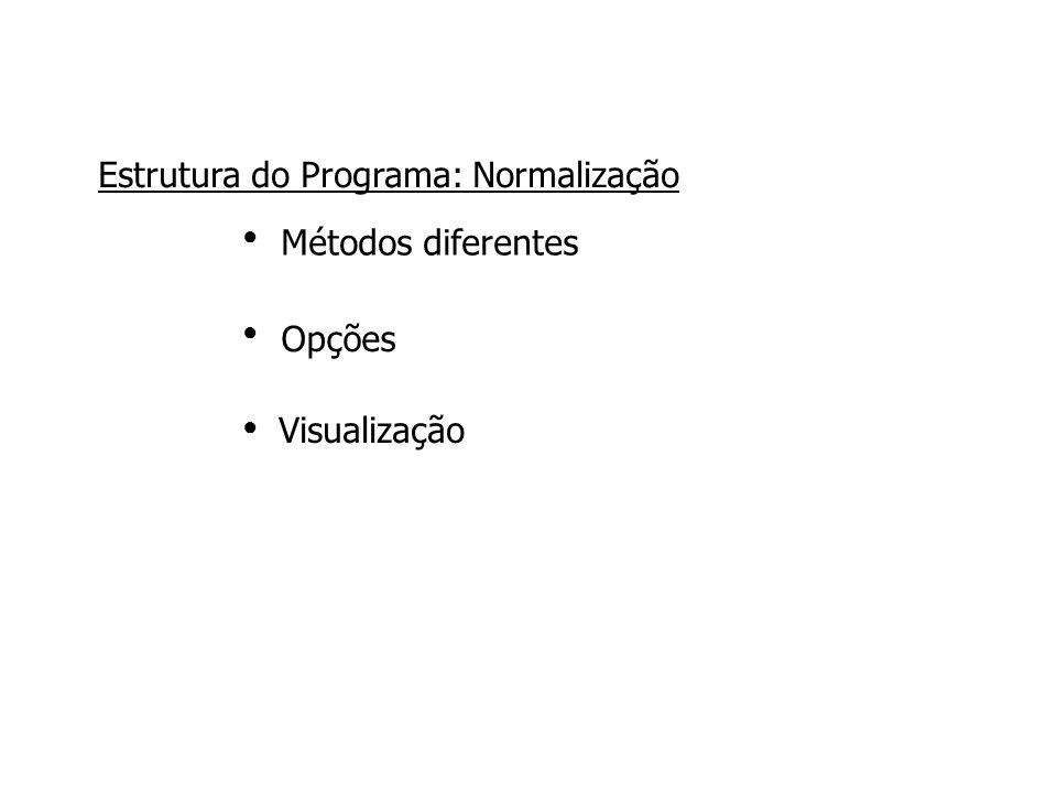 Métodos diferentes ●●●●●● Estrutura do Programa: Normalização Opções Visualização