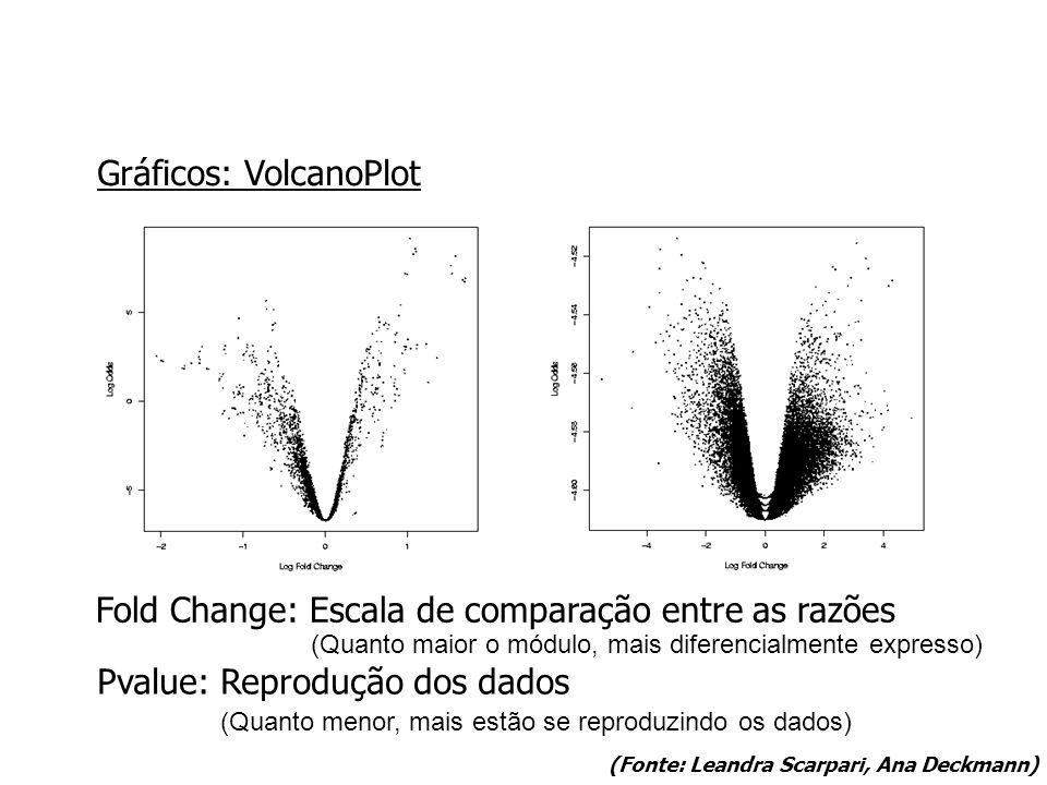 Gráficos: VolcanoPlot Fold Change: Escala de comparação entre as razões Pvalue: Reprodução dos dados (Quanto maior o módulo, mais diferencialmente expresso) (Quanto menor, mais estão se reproduzindo os dados) (Fonte: Leandra Scarpari, Ana Deckmann)