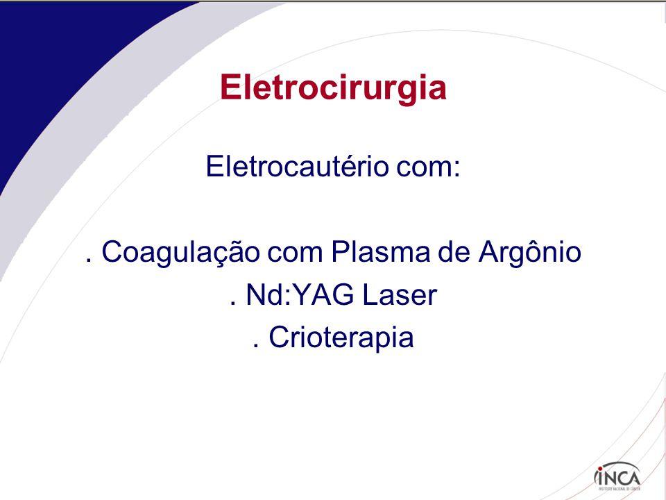Eletrocirurgia Eletrocautério com:. Coagulação com Plasma de Argônio. Nd:YAG Laser. Crioterapia