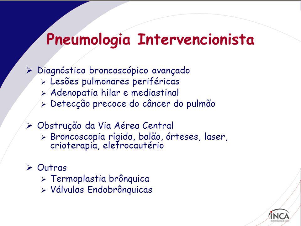 Pneumologia Intervencionista  Diagnóstico broncoscópico avançado  Lesões pulmonares periféricas  Adenopatia hilar e mediastinal  Detecção precoce do câncer do pulmão  Obstrução da Via Aérea Central  Broncoscopia rígida, balão, órteses, laser, crioterapia, eletrocautério  Outras  Termoplastia brônquica  Válvulas Endobrônquicas