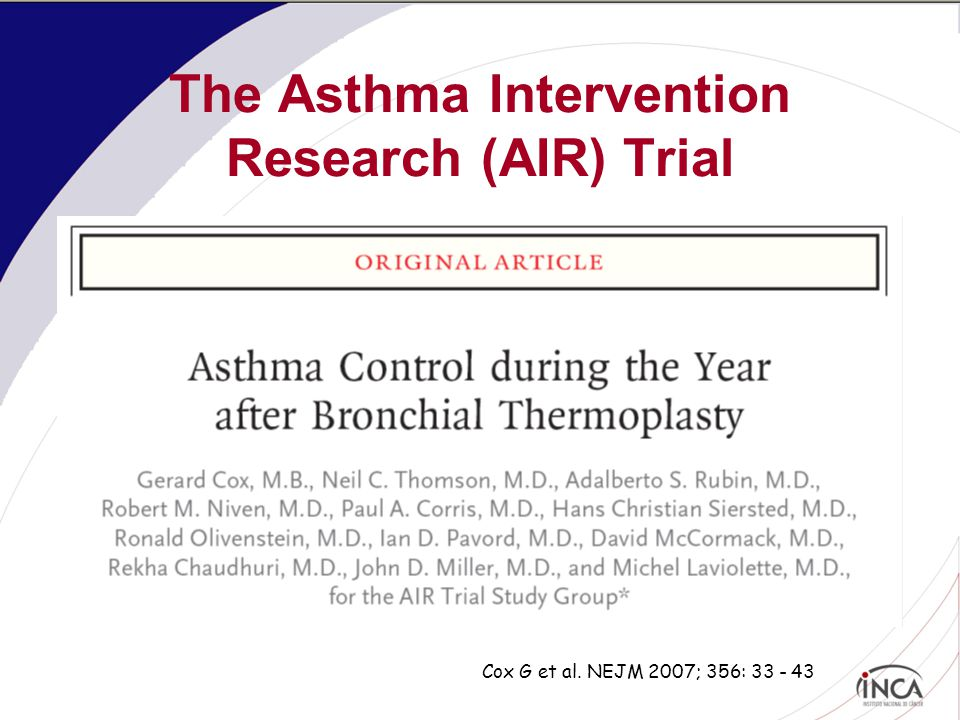 The Asthma Intervention Research (AIR) Trial Cox G et al. NEJM 2007; 356: 33 - 43