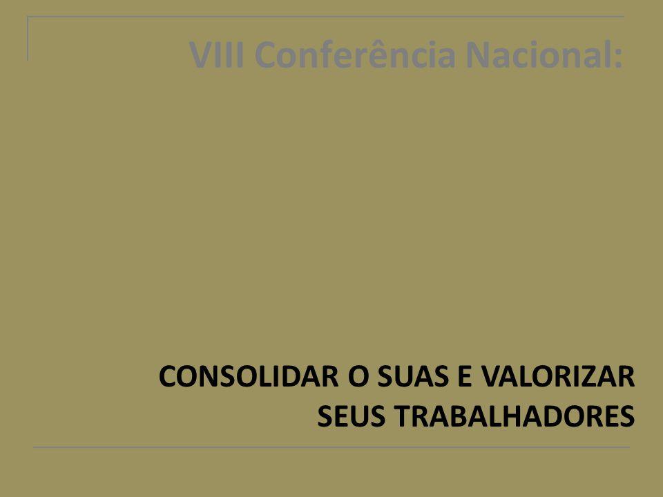VIII Conferência Nacional: CONSOLIDAR O SUAS E VALORIZAR SEUS TRABALHADORES