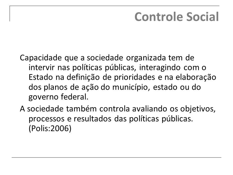 Controle Social Capacidade que a sociedade organizada tem de intervir nas políticas públicas, interagindo com o Estado na definição de prioridades e n