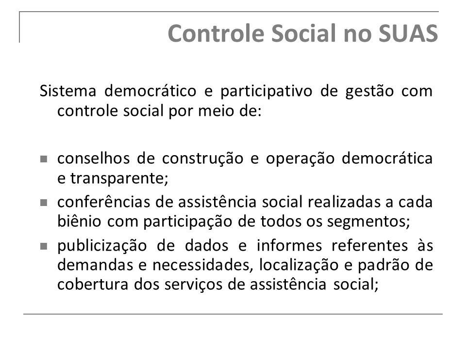 Controle Social no SUAS Sistema democrático e participativo de gestão com controle social por meio de: conselhos de construção e operação democrática