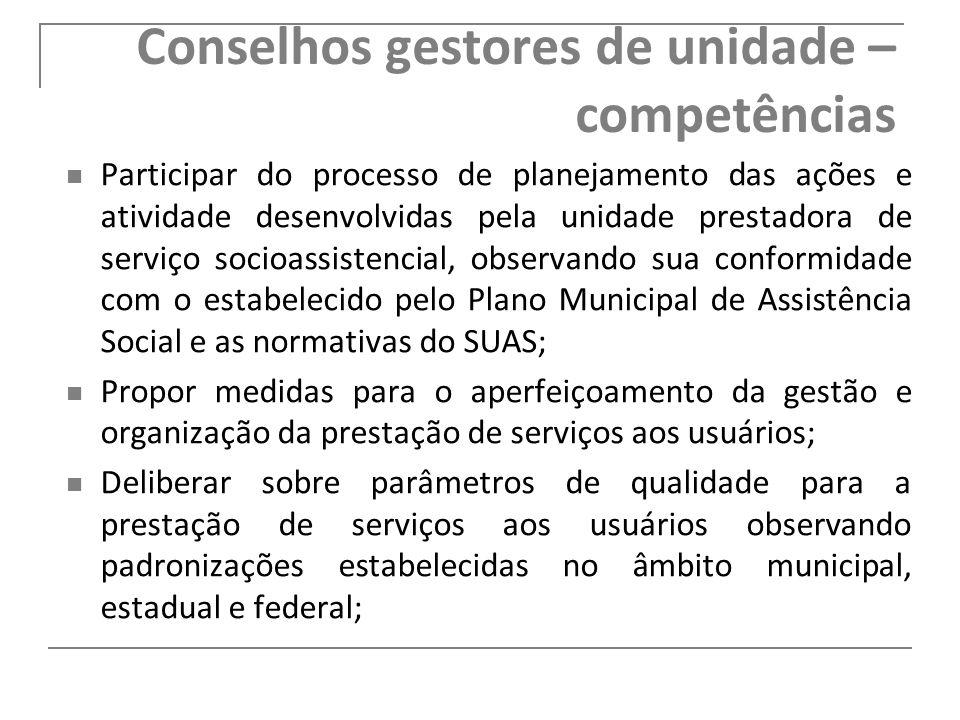 Conselhos gestores de unidade – competências Participar do processo de planejamento das ações e atividade desenvolvidas pela unidade prestadora de ser