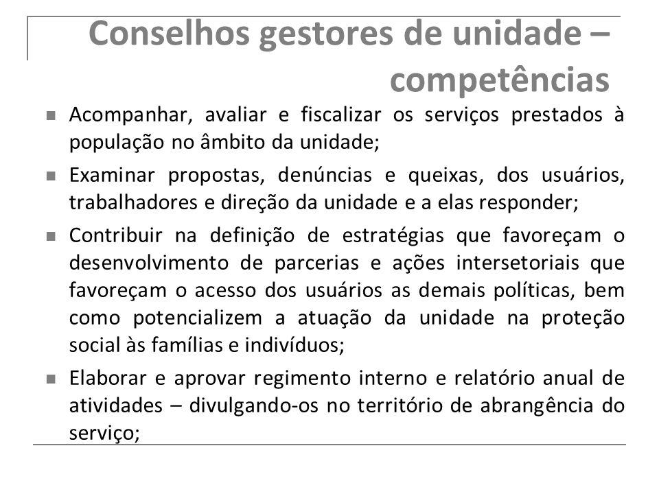Conselhos gestores de unidade – competências Acompanhar, avaliar e fiscalizar os serviços prestados à população no âmbito da unidade; Examinar propost