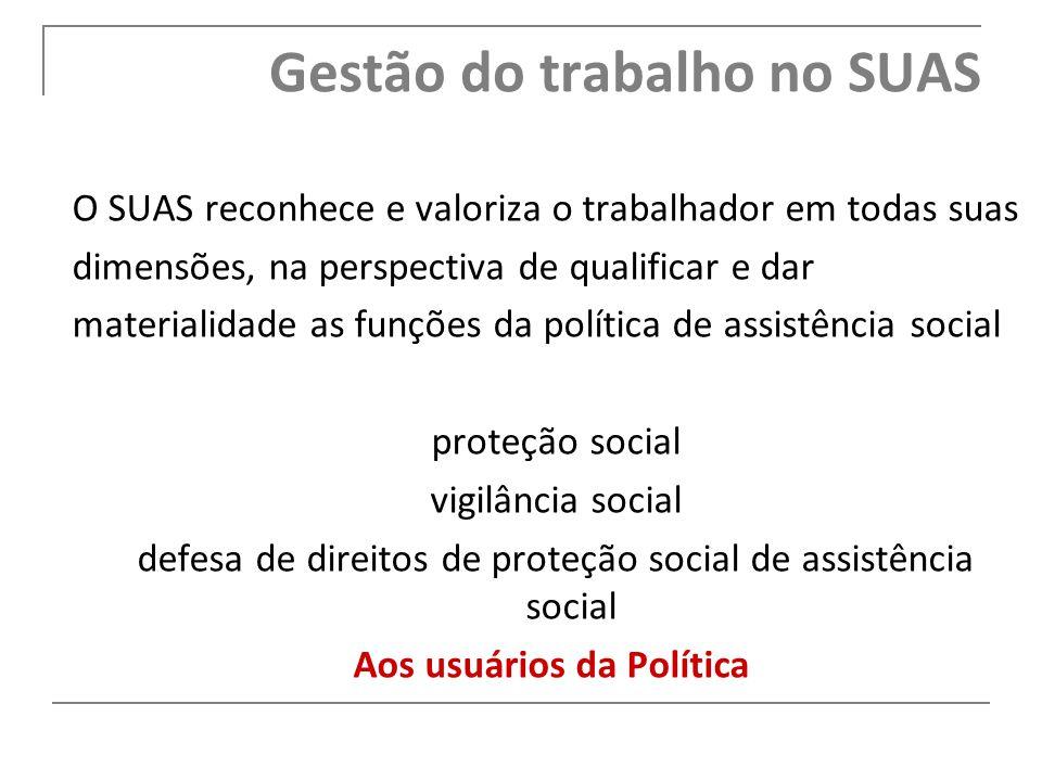 O SUAS reconhece e valoriza o trabalhador em todas suas dimensões, na perspectiva de qualificar e dar materialidade as funções da política de assistên