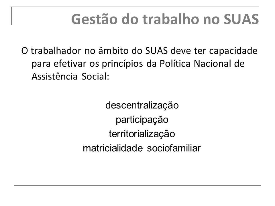 O trabalhador no âmbito do SUAS deve ter capacidade para efetivar os princípios da Política Nacional de Assistência Social: descentralização participa
