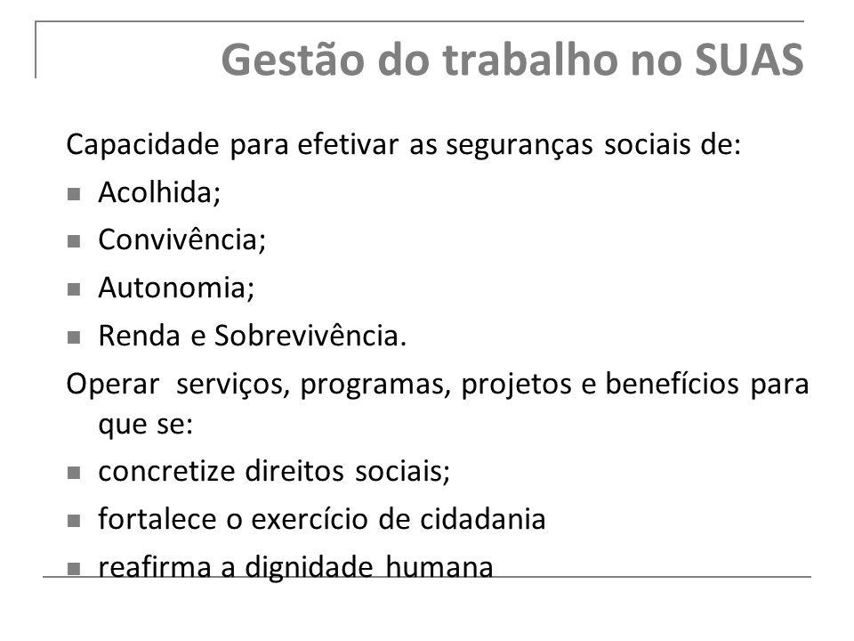 Capacidade para efetivar as seguranças sociais de: Acolhida; Convivência; Autonomia; Renda e Sobrevivência. Operar serviços, programas, projetos e ben