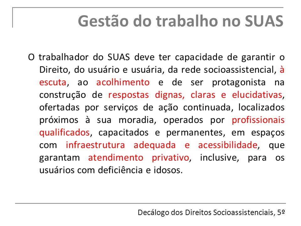 O trabalhador do SUAS deve ter capacidade de garantir o Direito, do usuário e usuária, da rede socioassistencial, à escuta, ao acolhimento e de ser pr