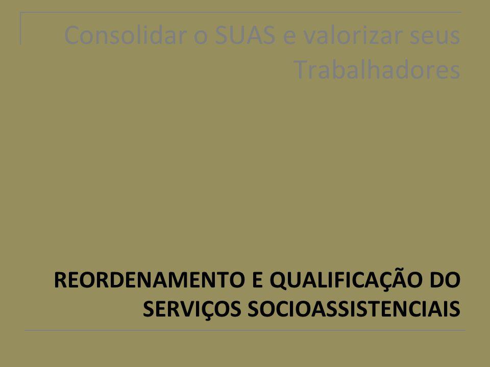 Consolidar o SUAS e valorizar seus Trabalhadores REORDENAMENTO E QUALIFICAÇÃO DO SERVIÇOS SOCIOASSISTENCIAIS