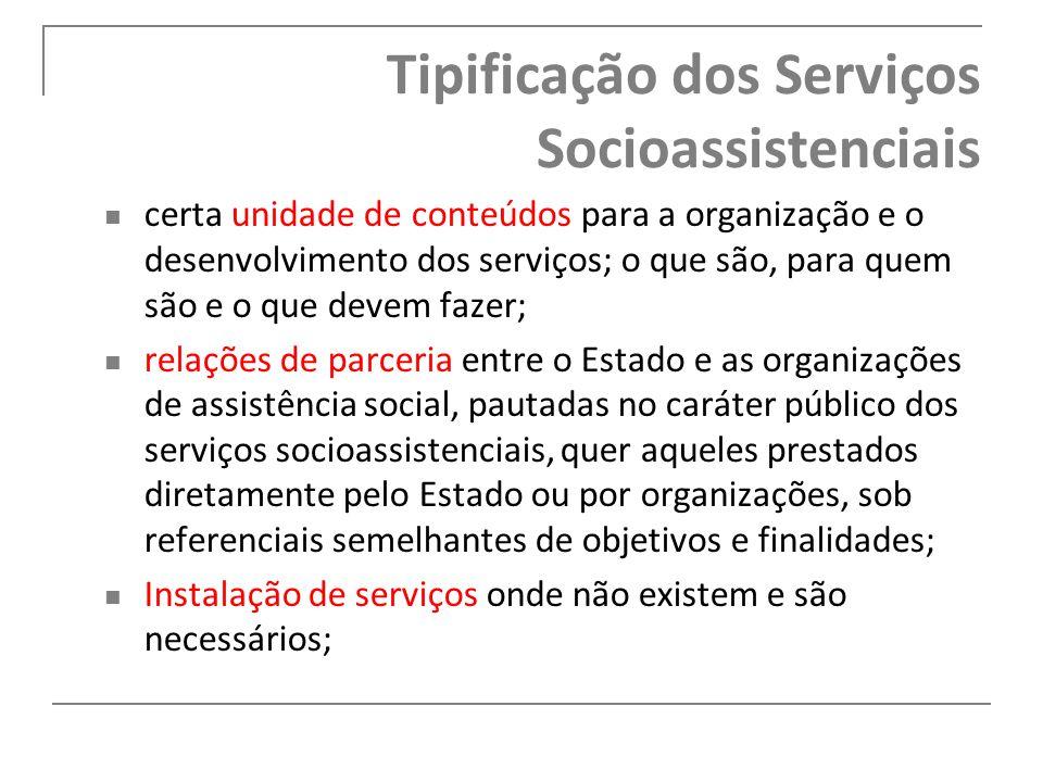 Tipificação dos Serviços Socioassistenciais certa unidade de conteúdos para a organização e o desenvolvimento dos serviços; o que são, para quem são e