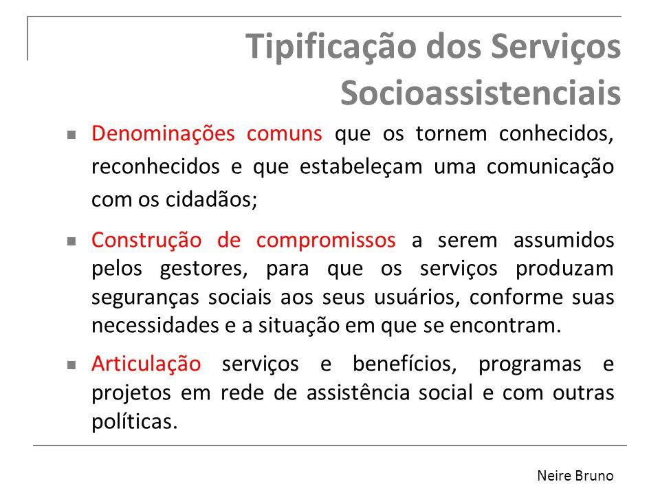 Tipificação dos Serviços Socioassistenciais Denominações comuns que os tornem conhecidos, reconhecidos e que estabeleçam uma comunicação com os cidadã