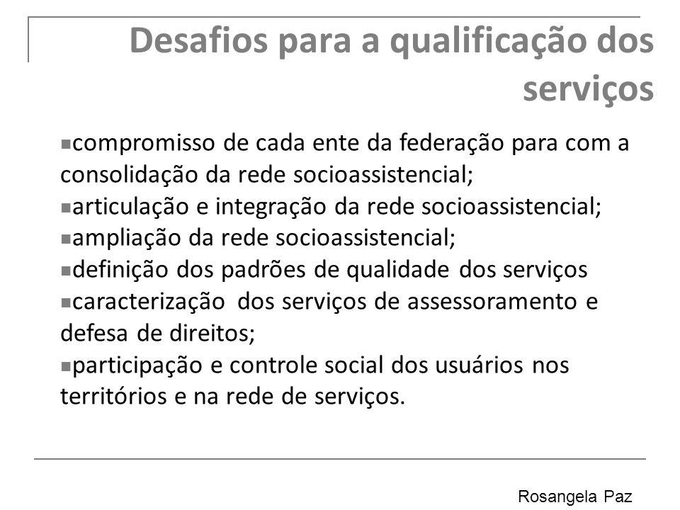 Desafios para a qualificação dos serviços Rosangela Paz 40 compromisso de cada ente da federação para com a consolidação da rede socioassistencial; ar