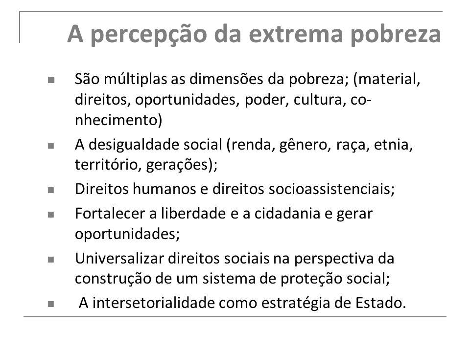 A percepção da extrema pobreza São múltiplas as dimensões da pobreza; (material, direitos, oportunidades, poder, cultura, co- nhecimento) A desigualda