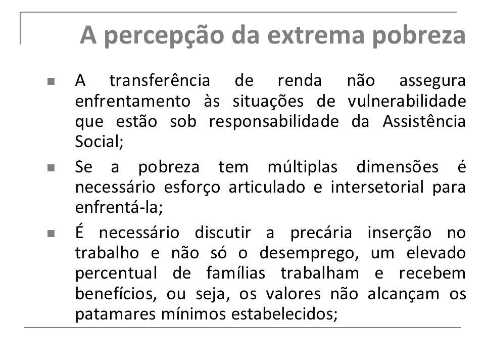 A percepção da extrema pobreza A transferência de renda não assegura enfrentamento às situações de vulnerabilidade que estão sob responsabilidade da A