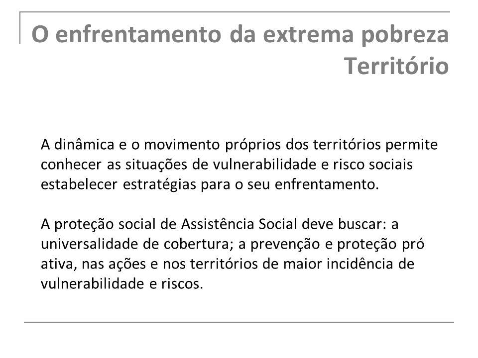 O enfrentamento da extrema pobreza Território A dinâmica e o movimento próprios dos territórios permite conhecer as situações de vulnerabilidade e ris