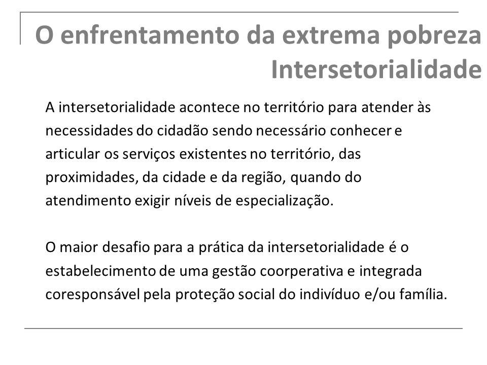 O enfrentamento da extrema pobreza Intersetorialidade A intersetorialidade acontece no território para atender às necessidades do cidadão sendo necess