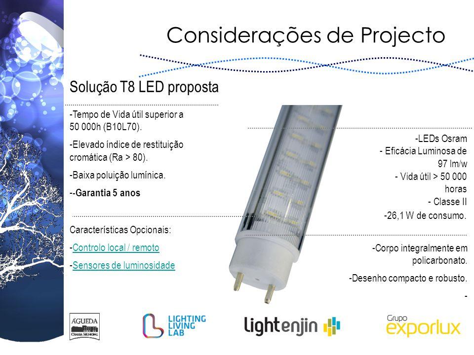Considerações de Projecto Solução T8 LED proposta -LEDs Osram - Eficácia Luminosa de 97 lm/w - Vida útil > 50 000 horas - Classe II -26,1 W de consumo