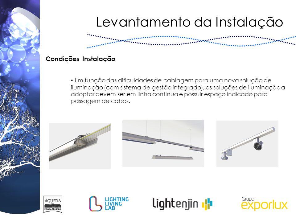 Levantamento da Instalação Em função das dificuldades de cablagem para uma nova solução de iluminação (com sistema de gestão integrado), as soluções d