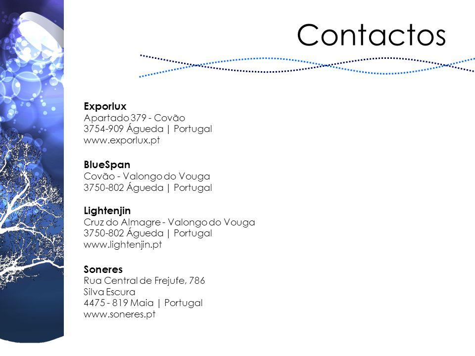 Contactos Exporlux Apartado 379 - Covão 3754-909 Águeda | Portugal www.exporlux.pt BlueSpan Covão - Valongo do Vouga 3750-802 Águeda | Portugal Lighte