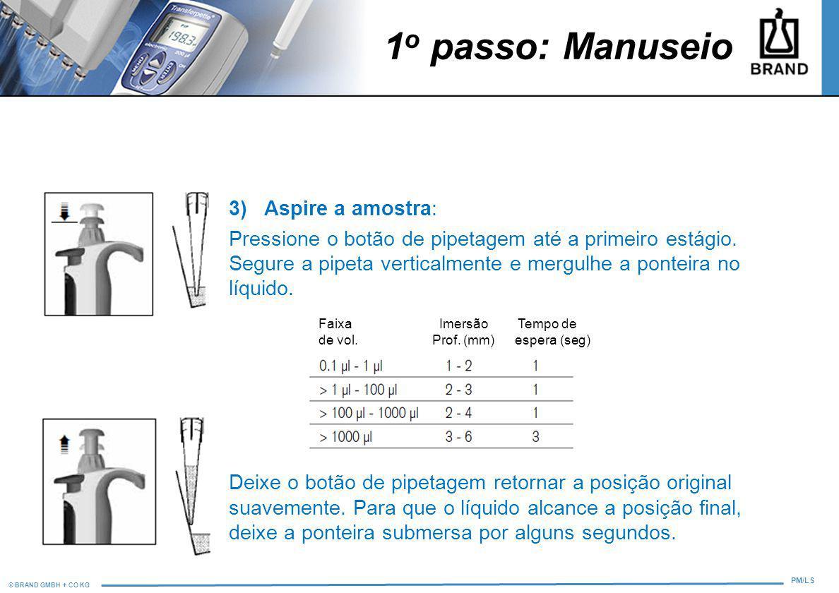 © BRAND GMBH + CO KG PM/LS 1 o passo: Manuseio 3) Aspire a amostra: Pressione o botão de pipetagem até a primeiro estágio. Segure a pipeta verticalmen