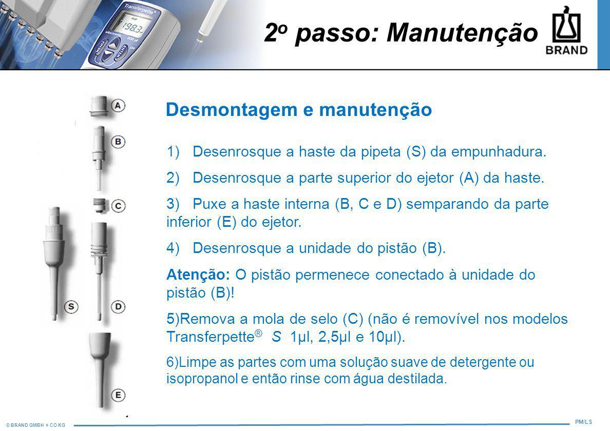 © BRAND GMBH + CO KG PM/LS 2 o passo: Manutenção Desmontagem e manutenção 1) Desenrosque a haste da pipeta (S) da empunhadura. 2) Desenrosque a parte