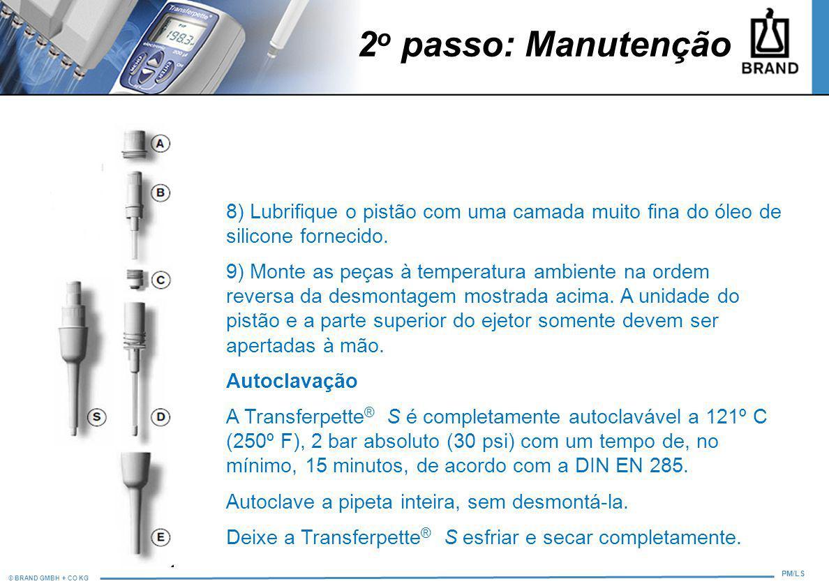 © BRAND GMBH + CO KG PM/LS 2 o passo: Manutenção 8) Lubrifique o pistão com uma camada muito fina do óleo de silicone fornecido. 9) Monte as peças à t