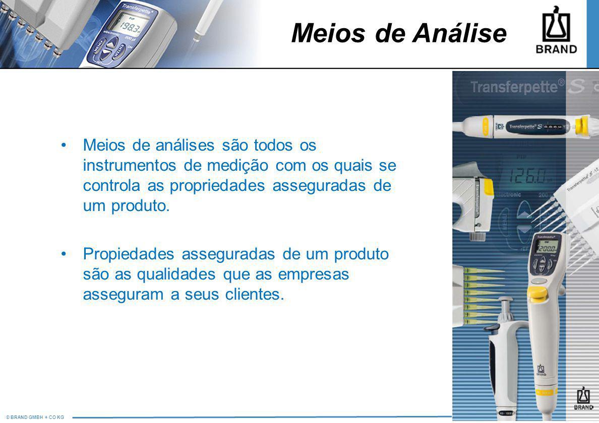 © BRAND GMBH + CO KG PM/LS Meios de análises são todos os instrumentos de medição com os quais se controla as propriedades asseguradas de um produto.