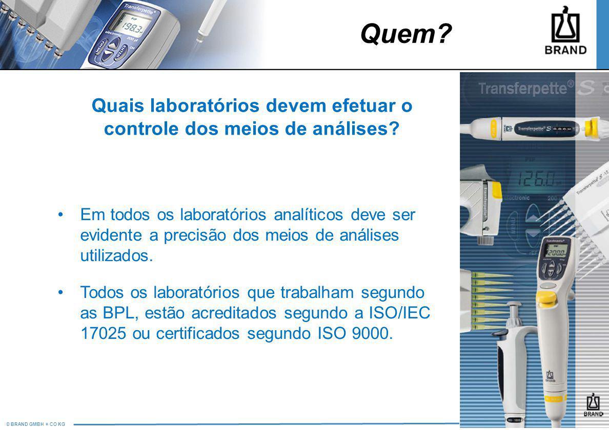 © BRAND GMBH + CO KG PM/LS Quais laboratórios devem efetuar o controle dos meios de análises? Em todos os laboratórios analíticos deve ser evidente a